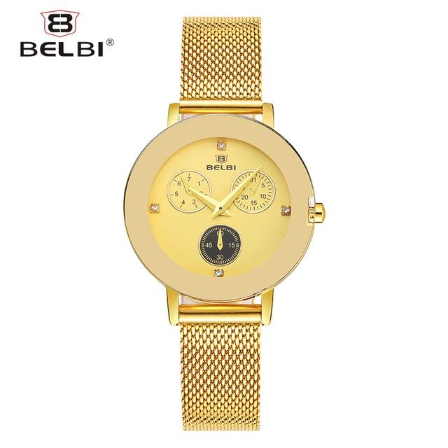 BELBI Fashion Ladies Quartz Watches Ultra-thin Stainless Steel Adjust Strap Female Wristwatches Simple Small Women Clock Brand