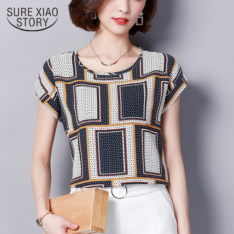 Women   Blouses     Shirts   Chiffon Feminina Top Plus Size Blusas Femininas 2018 Summer Floral Print Short Sleeve Chiffon   Blouse   15i43