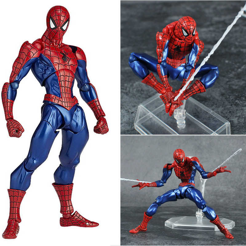 18cm The Amazing Spider-Man Action Figure Toys Set Super Hero Anime Spiderman Collectible Model Toy Christmas Gifts N049 free shipping the avengers the amazing spider man movie spiderman will light 17cm pvc action figure toys new christmas gifts