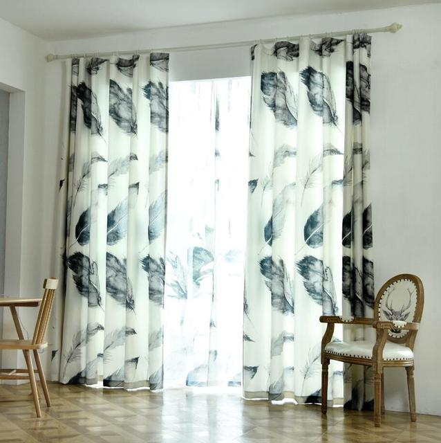 Feather Nordic Style Linen Cotton Blackout Curtains For Living Room