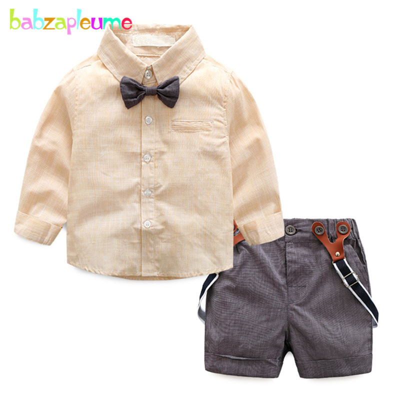 babzapleume 2Piece/Spring Summer Baby Wear Infant Boys Clothes 1st Birthday Gentleman Shirt+Shorts Newborn Clothing Sets BC1080