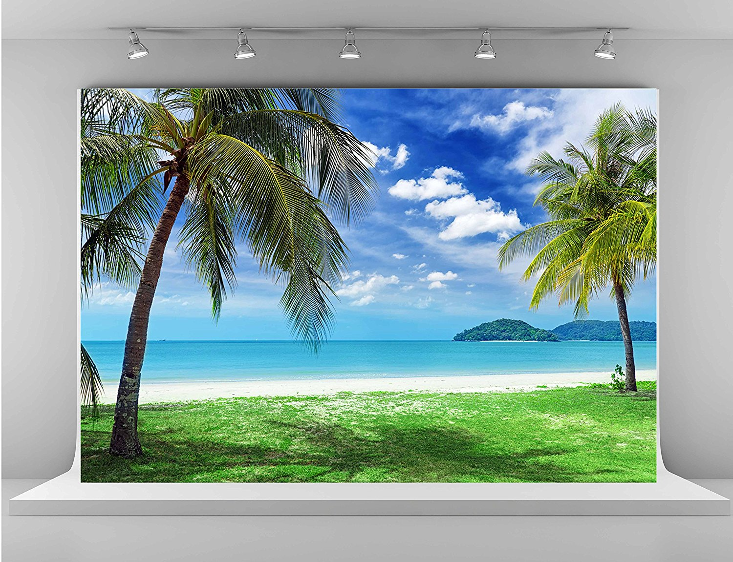 wall background Vinyl cloth High quality Computer print Blue Sky White Clouds Green Tree White Sand Beach photo backdrop