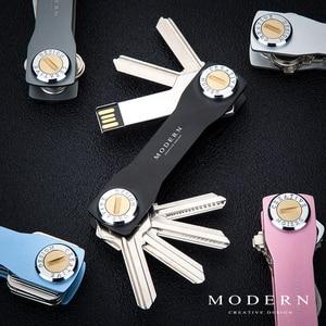 Image 5 - Marka aluminiowy klucz inteligentny portfel DIY brelok EDC brelok do kluczy uchwyt kluczowy Organizer nowoczesny