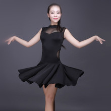 sexy woman black sleeveless Perspective stitching Latin/tango/rumba/tanggo dance practice dress for performance/practice