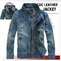 Fashion hat detachable desgin slim fit denim jacket men water wash plus size 5xl men's clothing shorts denim coat jaqueta/JK5