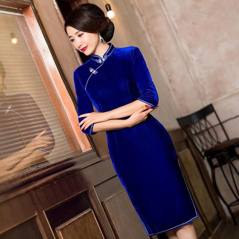 زائد الحجم الصينية التقليدية اللباس الأم الحديثة تشيباو شيونغسام الأزرق المخملية الفساتين عارضة مساء حزب شيونغسام