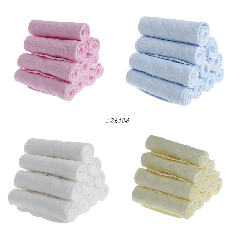 10pcs/lot Tsaujia 3 Layers Ecological Cotton Baby Cloth Nappy Inserts Reusable Washable Diapers Nappy Changing APR12_30