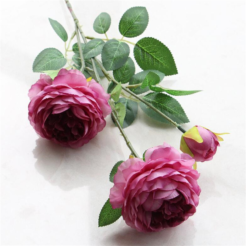 30pcs European Fake Rose Artificial Tea Rose Silk Flowers Peony 65cm long for Wedding centerpieces Decorative Flowers 11 colors-in Artificial & Dried Flowers from Home & Garden    1