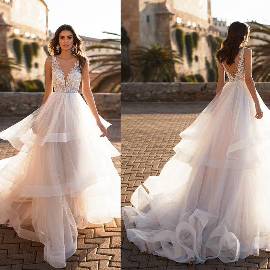 Charming V-neck Lace Applique Layer A-line Wedding Dress With Beading Belt V-back Sweep Train Bridal Dress Vestido De Novia