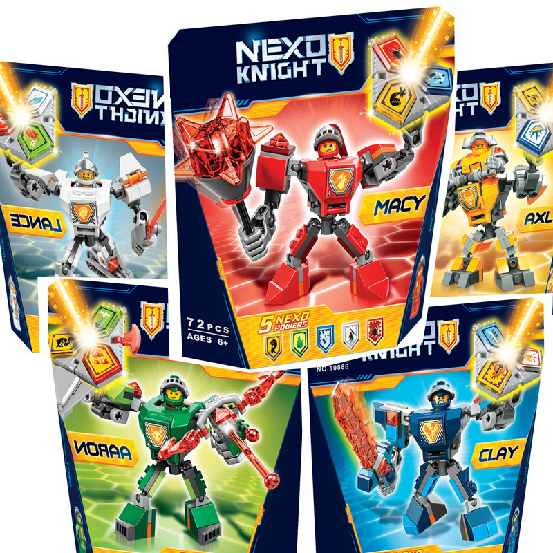 купить Bela Nexus Nexo Knights 70363 Action Figure Building Blocks Macy Aaron AXL Lance Clay Battle Suit 2018 Compatible Legoe Gifts по цене 604.65 рублей