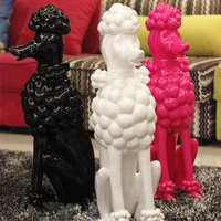 New Highlight Tricolor Resin Poodle European Modern High end Club Home Fashion AccessoriesRresin Ornaments, Best Gift