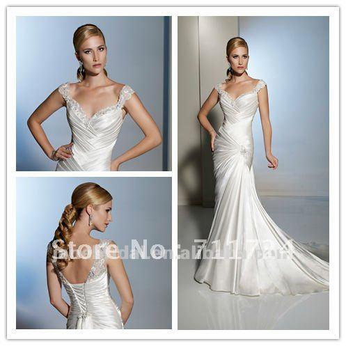Aliexpress.com : Buy Simple Mermaid cap sleeves corset baeded ...