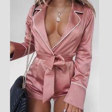 Женский сексуальный комбинезон с длинным рукавом, атласный глубокий v-образный вырез, однотонный розовый комбинезон, однотонные вечерние Клубные костюмы