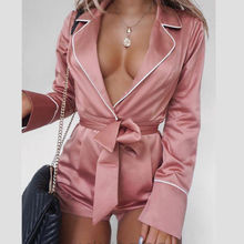 Women Sexy Long Sleeve Playsuit Satin Deep V neck Solid Pink Romper Solid Party Clubwear