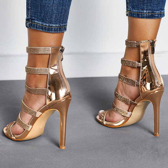 563ca8ead59a 2019 women s shoes fashion Rhinestone stilettos high-heeled sandals sexy  patent leather shoes peep toe