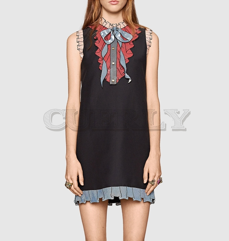 Joli été 2019 Mini robe Sexy noir blanc femmes piste Designer Sarafan robe dentelle paillettes chemise robes vêtements de fête