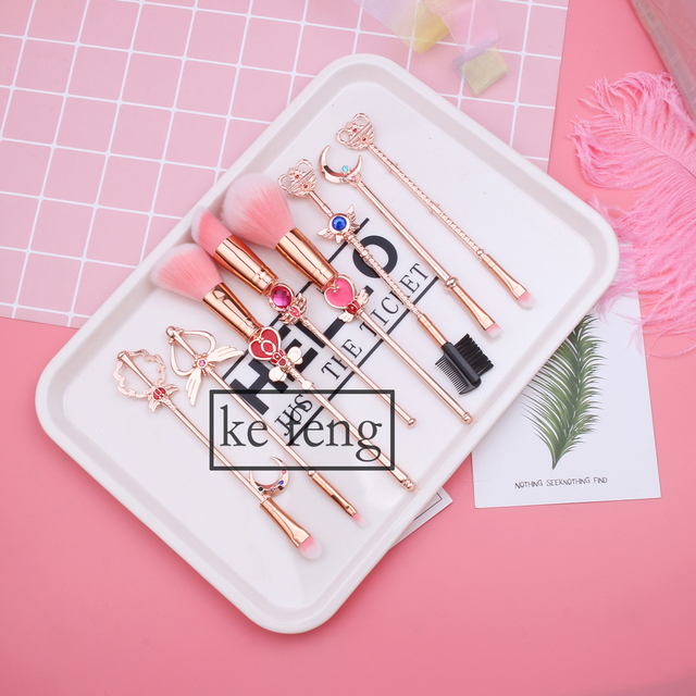 Hot Anime Cosmetic Makeup Brushes Set Tools Kit Eye Liner Shader Foundation Powder Natural-Synthetic Pink Hair 4