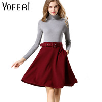 YOFEAI 2018 Women Skirt Fashion Autumn Winter Wool Skirt For Women High Waist Casual Warm Knee-Length Ladies Office Skirt