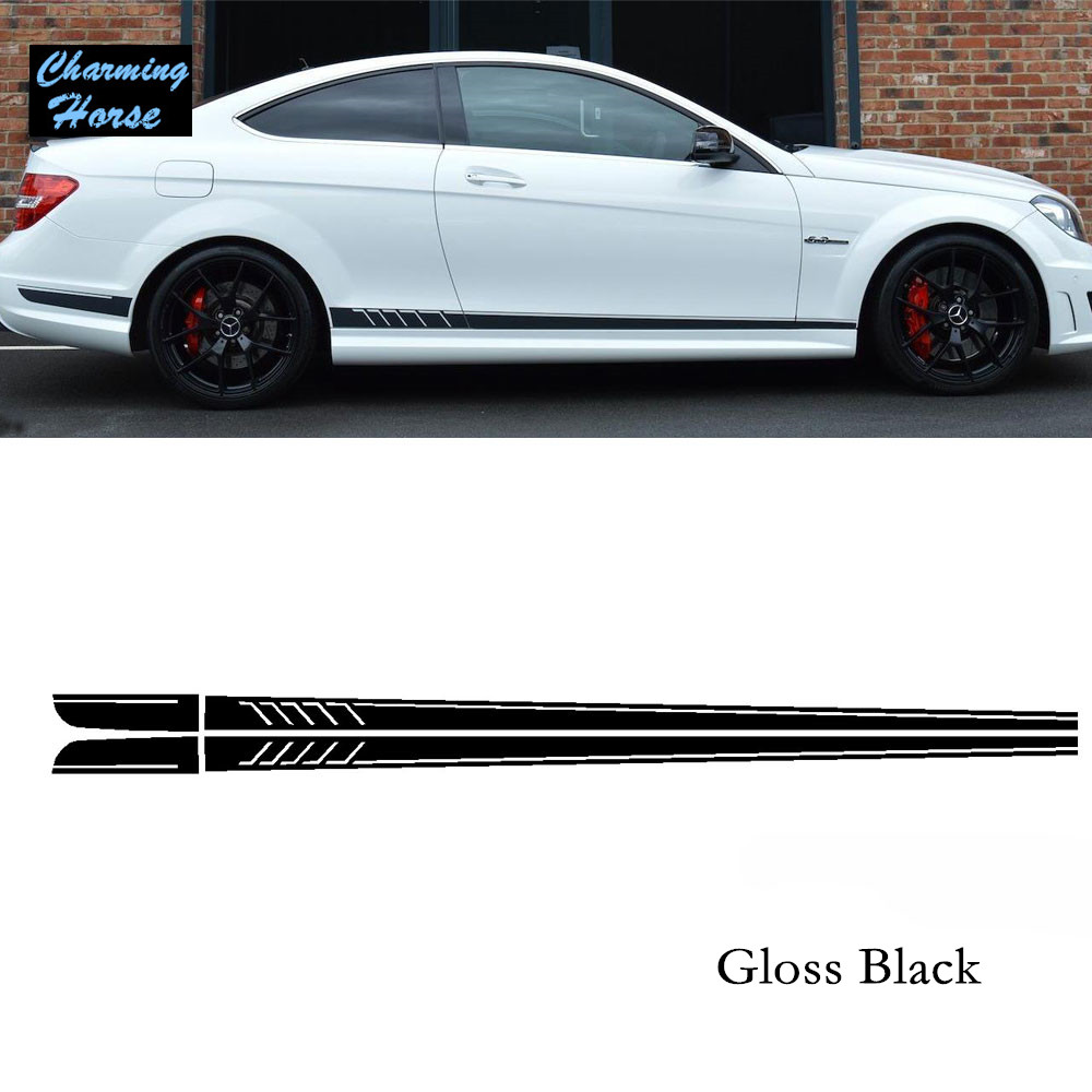 Viva car sticker design - Gloss Black Amg Edition 507 Side Stripe Decals Stickers For Mercedes Benz C Class C63 W204
