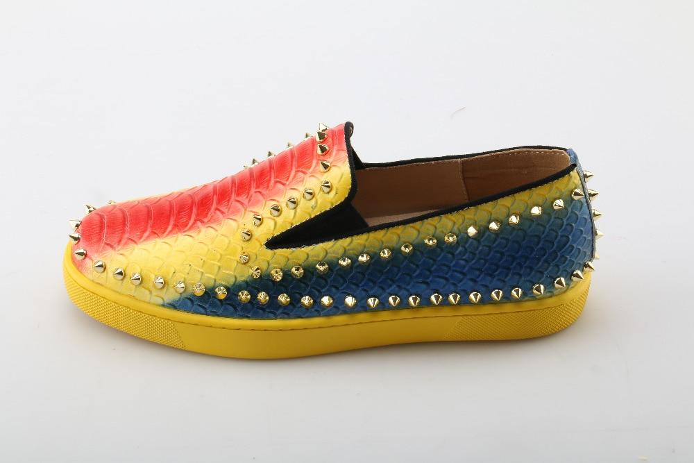 Remaches Partido Iris Hombres Top Espigas Pisos Sneakers De Mocasines Del Picture Arco Colores Serpiente As Zapatos Unisex Fumar Moda Lujo AqTv8pB