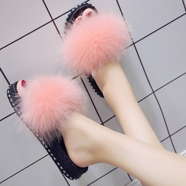 54328fce2da Pink Real fox hair fur slippers winter home women shoes rivets thick bottom  sandals flat heels