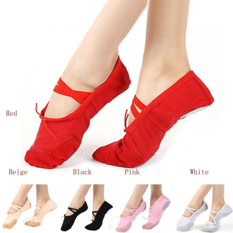 Лидер продаж, парусиновые балетные танцевальные туфли для взрослых, дышащая мягкая обувь для гимнастики, 5 цветов на выбор, размер 36-40, 0815