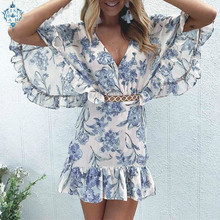 Ameision Vintage boho floral print women dress Sexy hollow out ruffled v-neck summer A-line high waist short mini dresses