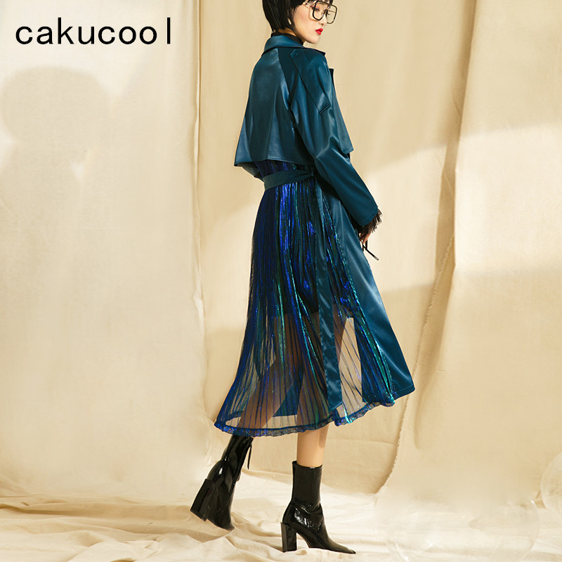 Cakucool Spring Peacock Blue Silk Spring Trench Coat Long Sleeve Belt Bling Lurex Patch Pleated Skirt Design Windbreaker Female