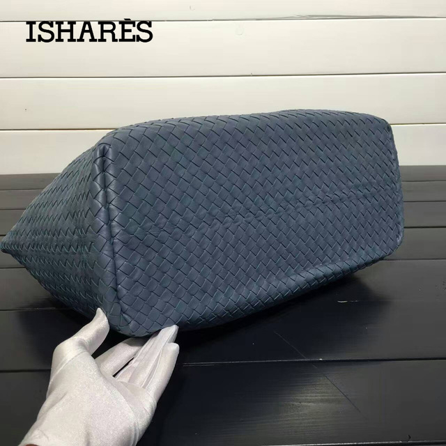 ISHARES lambskin shoulder Handbags For Women Ladies Genuine Leather Sheepskin Woven Large Capacity composite Totes IS8832