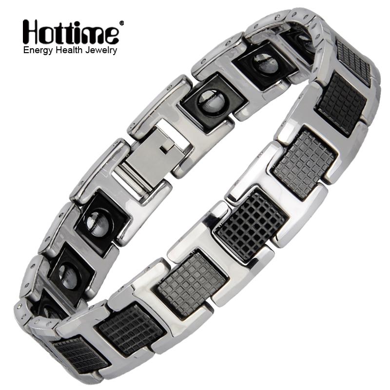 Hottime Punk Healthy Energy Bracelet Men Black Chain Link Bracelets Jewelry Tungsten Magnet Charm Bracelets for Men Jewelry цена