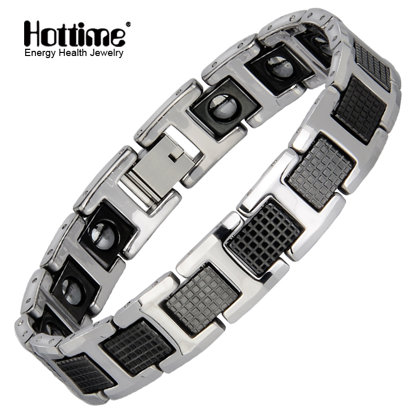 Hottime Punk Healthy Energy Bracelet Men Black Chain Link Bracelets Jewelry Tungsten Magnet Charm Bracelets for Men Jewelry punk link chain mens womens bracelets chains fashion jewelry charm bracelets wristband bracelets