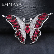 EMMAYA Luxury Red Kristal Rhinestones Aneka Kupu-kupu Bros Pin Fashion Perhiasan Kostum untuk Wanita(China)