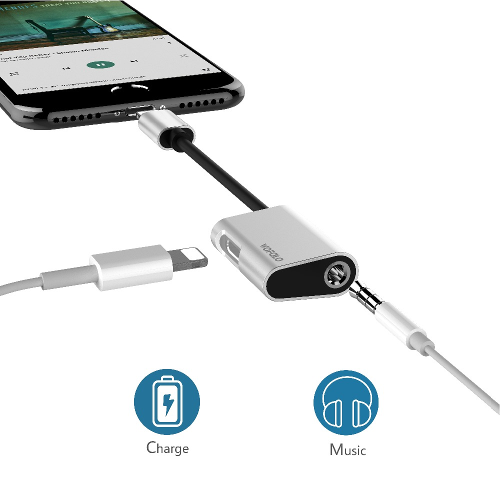 Wofalo 3.5mm Audio Cable for iPhone Charging Wire Splitter Cable Lighting to 3.5mm Headphone Adapter Cord for iphone 7 8 X