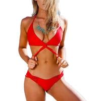 Sexy Red Hipster Micro Halter Bikinis Swimwear 2017 Beach Pool Swim Women Bathing Suits Cross Bandage