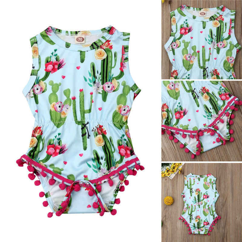 Summer Toddler Baby Girls Sleeveless Cactus Tassel   Romper   Jumpsuit Outfits Sunsuit Clothing