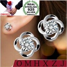 OMHXZJ WHOLESALE Fashion jewelry happiness Four Leaf Clover AAA zircon REAL S925 STERLING SILVER STUD EARRINGS YS82
