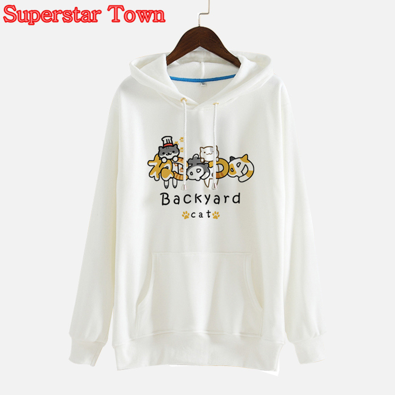 Neko Atsume Hoody Hoodies Japanese Cat Print Kawaii Hooded Sweatshirts Fleece Lolita Coat Harajuk Sweet Pullovers Roupa Feminina