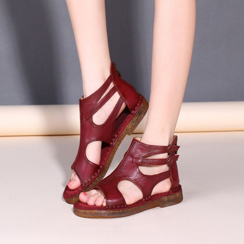 2019 summer handmade genuine leather women sandals comfortable flat shoes women summer mather cow leather gladiator
