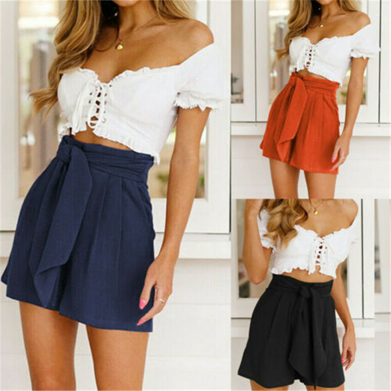 Newest Casual Solid Wide Leg Shorts Women High Waist Black Orange Blue Shorts Lady Summer High Waist Wide Leg Solid Shorts Woman