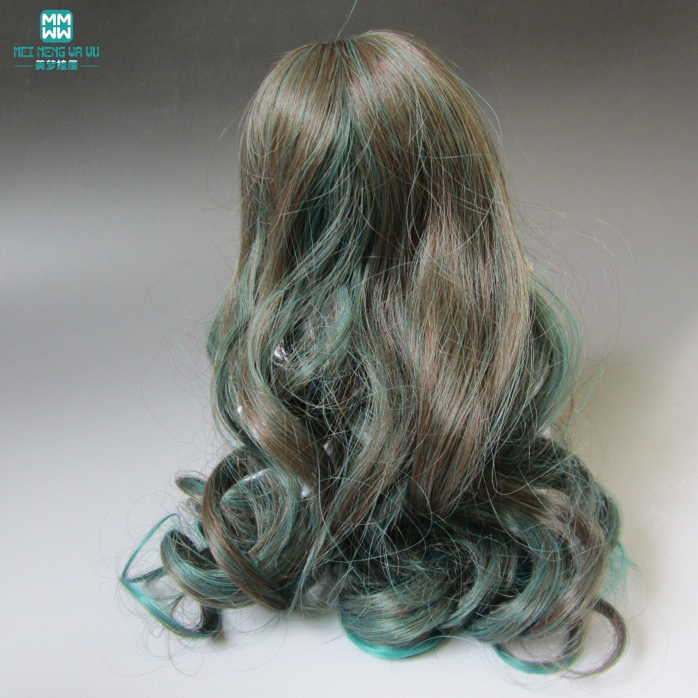 Doll Finished wig for 1/3 1/4 1/6 BJD/SD doll applicable Long Wavey hair Black brown, dark green color 096