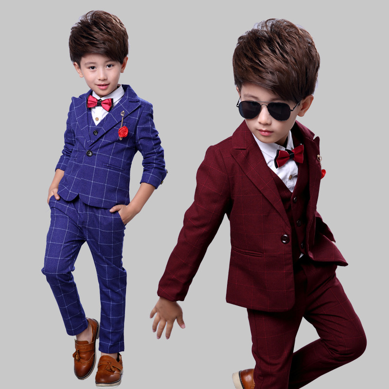 2018 Boys Suits For Weddings Kids Blazer Suit For Boy Costume Enfant Garcon Mariage Blazer + Vest + Pants Boys Formal Dress 3pcs