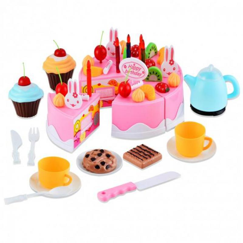 Diy Birthday Cake Set Children Early Educational Toy Classic Pretend Play Kitchen Food Toy 54pcs