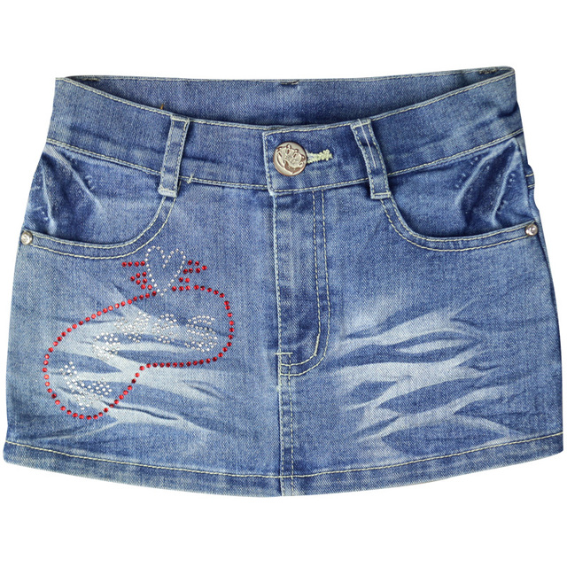 Girl's straight above-knee cotton mini Jeans skirts Letter Pattern rhinestones big girl's summer trousers MKM-5470