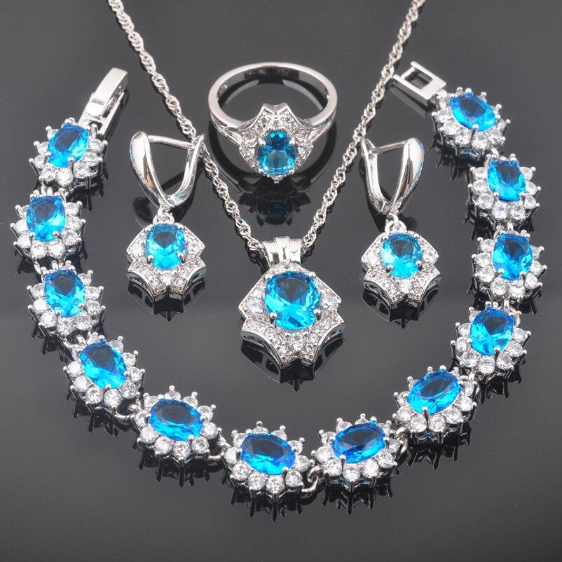 Fahoyo Sky Blue Zircon White Cz 925 Sterling Silver Women Jewelry Sets Bracelet Necklace