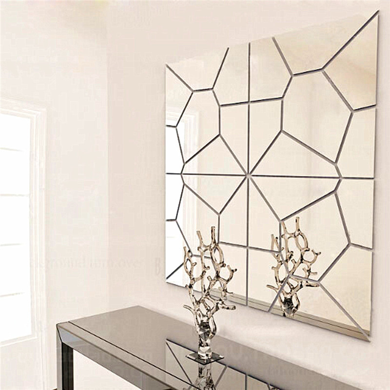 7Pcs 18*18cm Moire Pattern Quare Mirror Tile Wall Stickers 3D Decal Mosaic Home Decoration DIY For Living Room Porch image