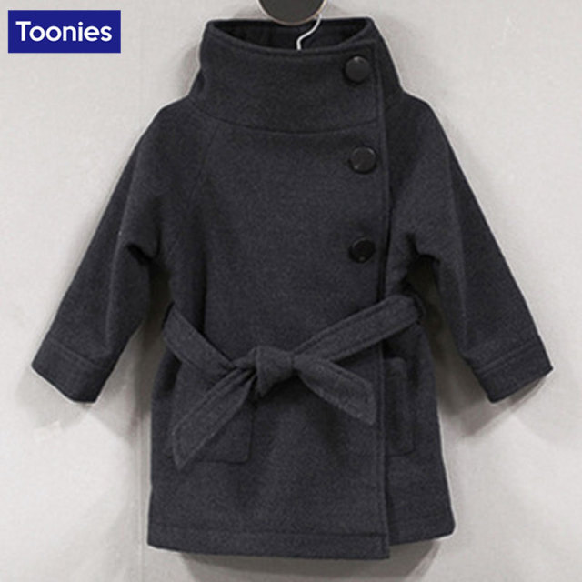 de33383bc Fashion Winter Jacket for Girls Wool Children Coat Long Sleeve Baby ...