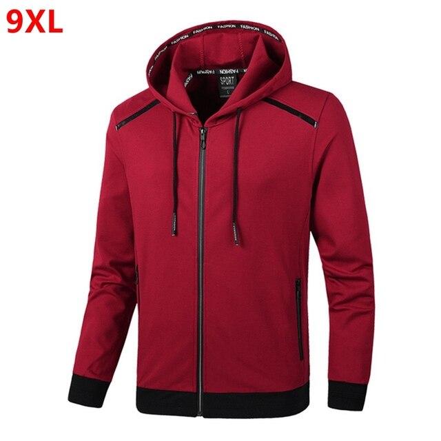 春の新フード付きジャケットプラスサイズのメンズ特大サイズのファッションニットジャケットカーディガン 9XL 8XL 7XL 6XL 5XL 4XL