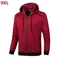 Spring new hooded jacket plus size men's extra large size fashion knit jacket cardigan 9XL 8XL 7XL 6XL 5XL 4XL