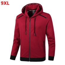 Spring new hooded jacket plus size mens extra large size fashion knit jacket cardigan 9XL 8XL 7XL 6XL 5XL 4XL