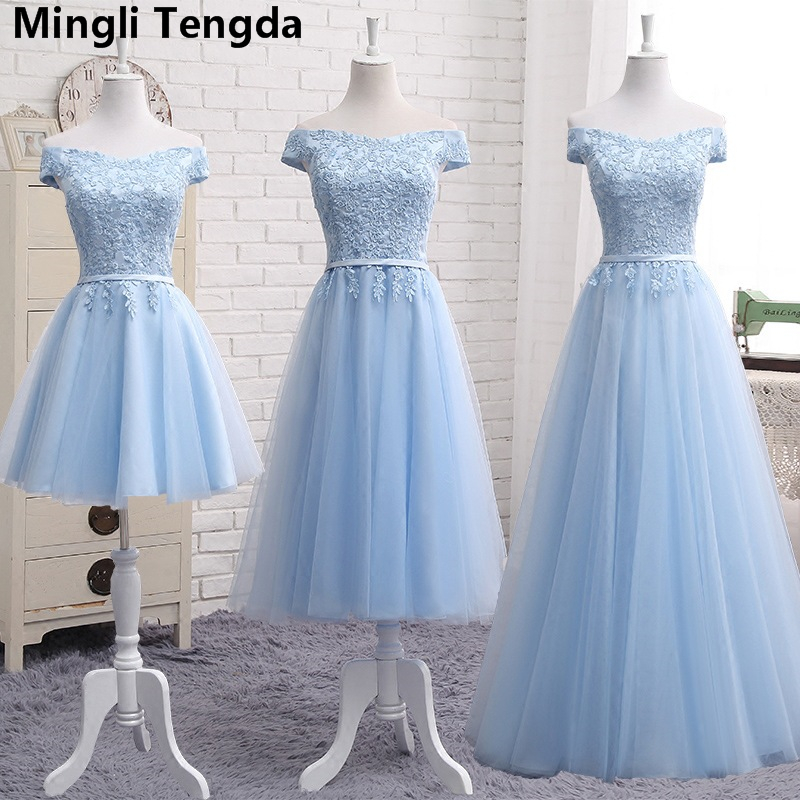 Mingli Tengda Light Blue Lace Elegant   Bridesmaid     Dresses   Boat Nevk   Bridesmaid     Dress   robe demoiselle d'honneur Sleeveless   Dress